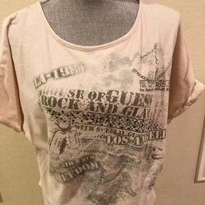 Guess Pretty Short Sleeve Top Cool Design Size Med